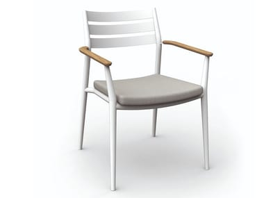 Stackable aluminium garden chair with armrests PIA
