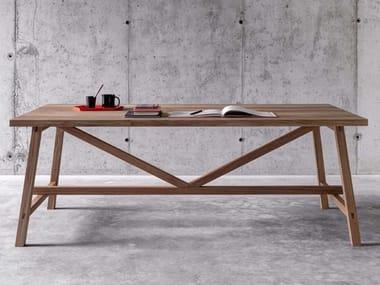 Tavolo rettangolare in legno massello PIAZZALUNGA
