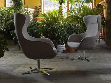 Wing swivel fabric armchair with armrests PICKED