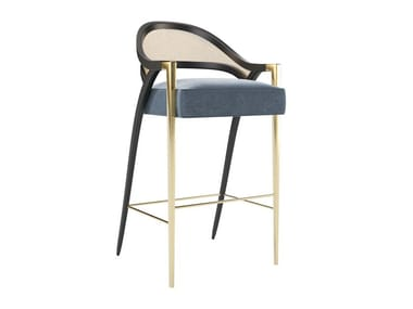 Upholstered barstool with footrest PIERRE | Barstool