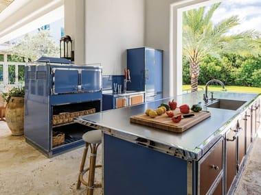 Professional custom steel kitchen with island PIGEON BLUE & POLISHED CHROME