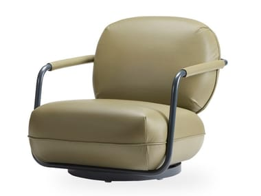 Swivel leather easy chair with armrests PILÙ | Leather easy chair