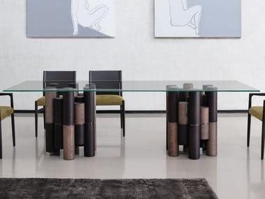 Tavolo rettangolare in legno massello e piano in cristallo PILAR MIX | Tavolo rettangolare