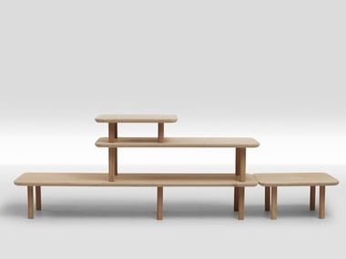 Open sectional multi-layer wood shelving unit PILED