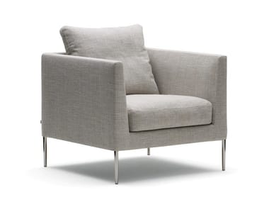 Fabric armchair with armrests PILOTIS | Armchair