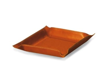 Tanned leather pin tray PIOMBO QUADRO | Pin tray