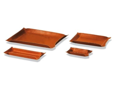 Tanned leather pin tray PIOMBO RETTANGOLARE | Pin tray