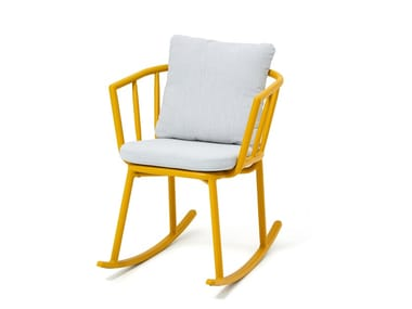 Rocking garden chair with armrests PIPE | Rocking chair