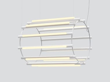 Lampada a sospensione in alluminio e acrilico PIPELINE CHANDELIER 6
