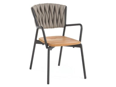 Polyester and teak garden chair with armrests PIPER 221