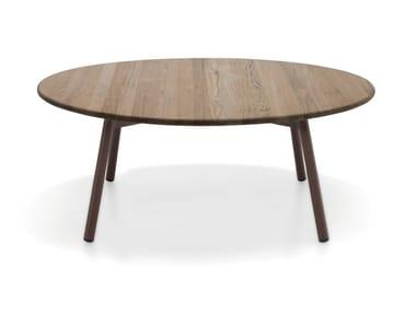 Mesa de centro redonda de teca para jardim PIPER 012