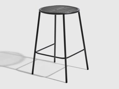 Stainless steel stool with footrest PIPER | Stool
