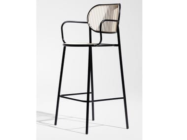 High stainless steel stool with armrests PIPER | Stool with armrests