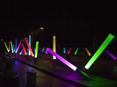 Lampada da terra per esterno a LED in metacrilato con sistema RGB PISTILLO | Lampada da terra per esterno con sistema RGB
