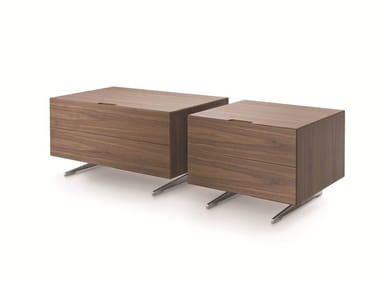 Rectangular walnut bedside table with drawers PIUMA | Bedside table