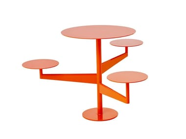Table for public areas with integrated seats PIVOT