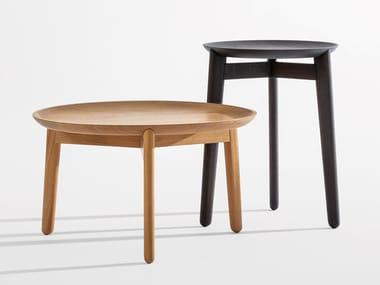Mesa de centro baixa redonda de madeira PLAISIR | Mesa de centro