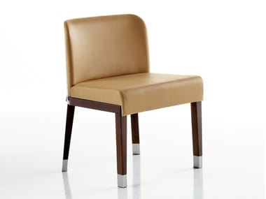 Ergonomic upholstered leather chair with ash structure PLAN | Chair