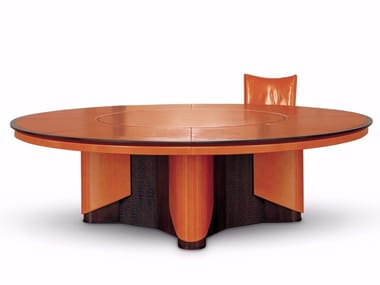 Round Leather Meeting Table With Cable Management PLANET | Round Meeting  Table