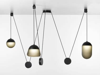 Blown glass and metal pendant lamp PLANETS