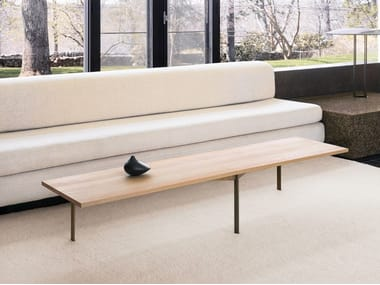 Rectangular wooden coffee table with metal base PLANK | Rectangular coffee table