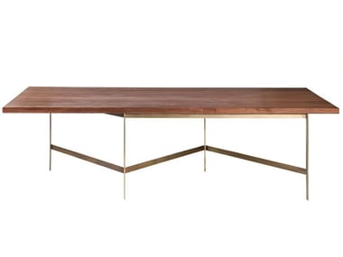 Rectangular wooden dining table with metal base PLANK | Wooden table
