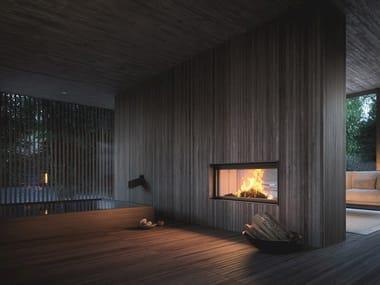 Caminetto a doppia facciata a legna incassato PLASMA 115B WOOD