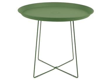 Round powder coated steel coffee table PLAT-O