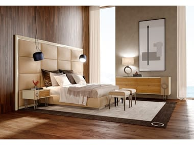 wood and upholstery bed. Contemporary style upholstered wooden king size bed PLATEAU  Upholstered TEMPLE Concept Collection By Caroti