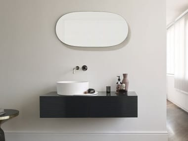Wall-mounted wooden vanity unit with drawers PLATEAU | Vanity unit