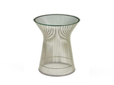 Round crystal and steel side table PLATNER | Side table
