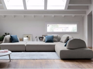 Sectional fabric sofa with removable cover PLAY