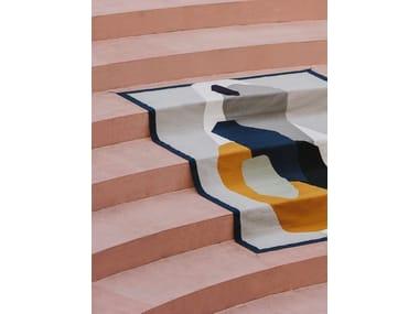 Patterned rectangular wool rug PLAYTIME ROCK PAPER SCISSORS