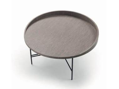 Tavolino rotondo in legno impiallacciato PLAZA