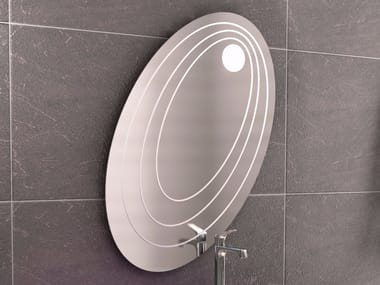 Oval wall-mounted mirror with integrated lighting CHEF SET ONE | Mirror