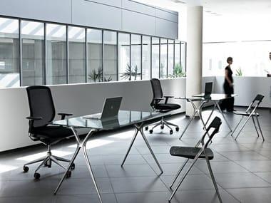 Folding glass and aluminium table PLEK | Folding table