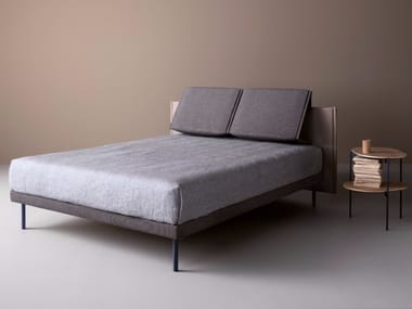 Fabric double bed with adjustable headrest PLIÈ