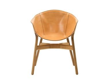 Cadeira de pele com braços POCKET | Cadeira
