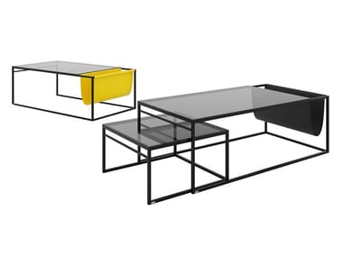 Glass and steel coffee table with integrated magazine rack POCKET