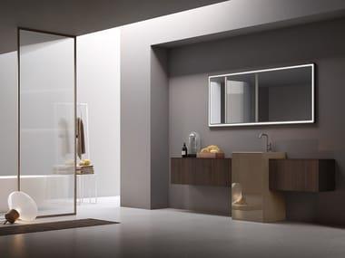 Mobile lavabo singolo in eucalipto e gres porcellanato POLLOCK - COMPOSIZIONE 63