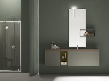 Mobile lavabo singolo in legno e Tecnoril® POLLOCK - COMPOSIZIONE 65