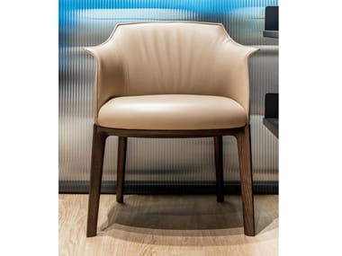 Leather easy chair with armrests POLTRONA FRAU - ARCHIBALD SC-52Daino