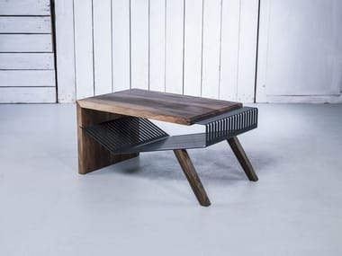 Solid wood coffee table with storage space POLYLINE NO 1