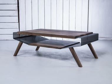 Solid wood coffee table with storage space POLYLINE NO 2 LARGE