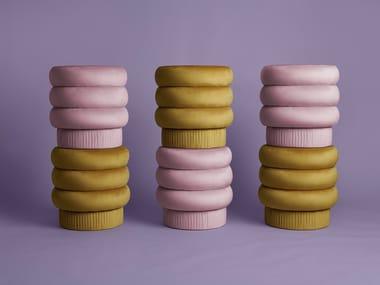 Upholstered round velvet pouf POMPA