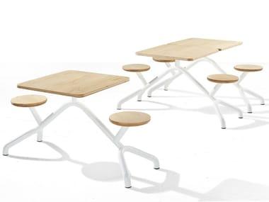 Table pour espaces publics en acier inoxydable et bois avec chaises intégrées PONY