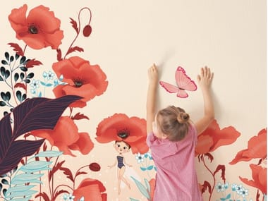 Kids wallpaper with floral pattern POPPIES AND FAIRIES