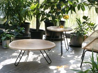 Round oak coffee table PORCINO