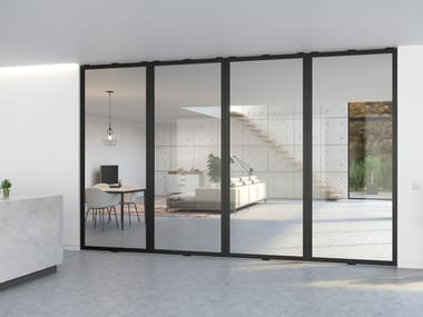 Pivot glass and aluminium door PORTAPIVOT 5730 - MULTIPLE DOORS