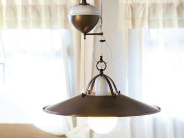 Lampada a sospensione in ottone POSTIGLIONE   Lampada a sospensione